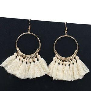 Jewelry - JUST IN!!!Long Tassel Fringe Boho Earrings WHITE